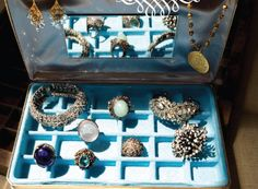 Jewelry In Angie's Blue Jewelry Box