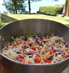 Fave Summertime dish!  CRUNCHY COLESLAW  3 Cups chopped cabbage, multi color 1/2 Cups shredded carrots  Chopped green onions (amount is up to you) 1 cup chopped bell pepper 1 cup roasted sliced almonds  For the dressing, combine: 1/2 cup olive oil, 1/4 cup honey, salt and pepper.  #summer #summer16 #caraclarknutrition #coleslaw #bbq #puremichigan #lakelife #fivecolorsaday #bestleftovers #realfood #jerf