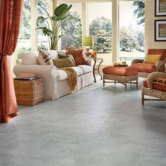 Luxury Vinyl Flooring in Living Room - Union Way Concrete by Mannington