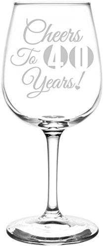 40th Cheers To Years Birthday Anniversary Graduation Special Occasions  Celebration Toasting Gift Inspired  Laser Engraved 1275oz Libbey AllPurpose Wine Taster Glass *** More info could be found at the image url.Note:It is affiliate link to Amazon.