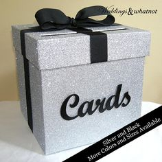 Silver Glitter Card Box with Cards Sign Choose Your Colors