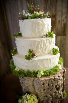 Natural look stand, holding a superior all white wedding cake.