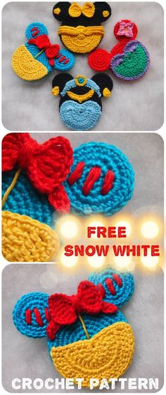 Snow White Mouse crochet pattern Snow White Mouse crochet pattern The post Snow White Mouse crochet pattern appeared first on Yarn ideas. Crochet Motifs, Crochet Patterns Amigurumi, Knitting Patterns Free, Crochet Toys, Crochet Baby, Free Crochet, Disney Crochet Patterns, Knitting Toys, Crochet Appliques