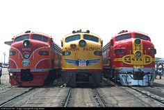 As part of the celebration of Los Angeles Union Passenger Terminal's 50th Anniversary, cab units from the three original tenant railroads were posted next to each other to recreate a popular PR / postcard photo from the pre-Amtrak days. From left to right are Southern Pacific E9A 6051, Union Pacific E9A 951 and Santa Fe F7A 347C on May 6, 1989. The SP and ATSF diesels are owned by the California State Railroad Museum, and the UP's E-unit is part of that road's historic fleet.