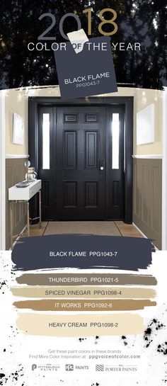 decor 2018 Black interior doors make a statement. Try the 2018 Color of the Year, Black Fla. Black interior doors make a statement. Try the 2018 Color of the Year, Black Flame by PPG in your entryway. Front Door Colors, Wall Colors, House Colors, Front Doors, Front Entry, Entry Doors, Exterior Colors, Exterior Paint, Diy Exterior