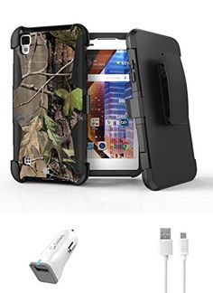 LG Tribute HD LS676  Accessory Bundle with Hunter Camo Defender Kickstand Armor Case  Belt Holster Atom LED and 18W Qualcomm Quick Charge 20 Car Charger with Micro USB Cable 4 ft *** Check out this great product by click affiliate link Amazon.com