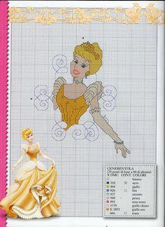 #Gráfico ponto cruz #Ponto Cruz #Princesa Disney Stitch, Cross Stitching, Cross Stitch Embroidery, Cinderella Crafts, Disney Beauty And The Beast, Disney Crafts, Princesas Disney, Sewing Patterns, Projects To Try