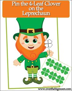 Pin the 4-leaf clover on the Leprechaun - free printable game for kids