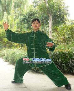 Traditional China Green Velvet Kung Fu Uniforms     #972 - $230.00