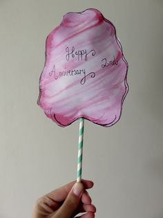Cotton candy card Second wedding anniversary