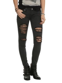 Machine Black Distressed Wash Skinny Jeans | Hot Topic i love this better with batman leggings underneath