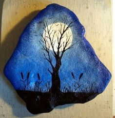 full moon behind tree at night - painted rock idea