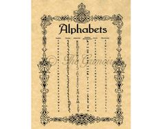 This listing is for a Book of Shadows page on Witches Alphabets. It contains scripts for Theban, Malachim, Egyptian Hieroglphics, Greek, and Phoenician alphabets. Printed on Parchment: • Parchment Paper, 24 lb. weight • 8.5 by 11 letter size paper • Parchment is archival quality, acid
