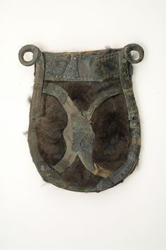 Belt Pouch - Bronze, fur and paper. The bronze mountings of a belt pouch are attached to paper fastened onto squirrel fur. Grave find from Sweden. Viking Garb, Viking Reenactment, Viking Dress, Viking Clothing, Viking Jewelry, National Historical Museum, Larp, Viking Culture, Viking Life