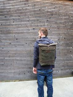 Waxed canvas rucksack / waterproof backpack with by treesizeverse