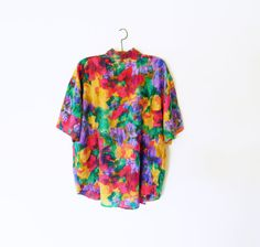 Vintage Silk Oversized Blouse / Slouchy Abstract Floral Blouse / 80's Bold Floral 100% Silk Shirt