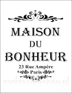 sjabloon Maison du Bonheur Rue Ampère Vintage French Posters, Images Vintage, Books Art, Message Positif, French Images, Stencils, French Typography, Etiquette Vintage, French Script