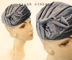 40s I Magnin Turban / 1940s Vintage Blue Silk Velvet Hat / Harbor Fog Turban