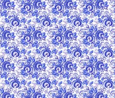 Blue floral pattern fabric by art_of_sun on Spoonflower - custom fabric