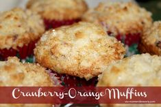 CRAN-ORANGE MUFFINS  2 C flour  3/4 C sugar + 1 Tablespoon  1 t bak­ing powder  1/2 t bak­ing soda  1/2 t salt  1 1/4 C fresh cran­ber­ries (slightly chopped)  1 egg  3/4 C orange juice  1/4 C veg­etable oil  2 t grated orange rind  Topping:   2 T flour  1/4 C sugar  1 T but­ter