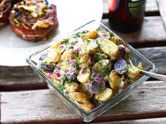 Easy Fingerling Potato Salad with Creamy Dill Dressing--cashew cream instead of sour cream makes it vegan.