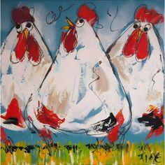 Schilderij witte kippen acryl 60x60cm