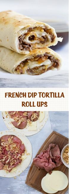 French Dip Tortilla Roll Ups use low carb tortillas Mexican Food Recipes, Beef Recipes, Cooking Recipes, French Food Recipes, Mexican Dishes, Easy Cooking, Recipes Dinner, Appetizer Recipes, Soup Recipes