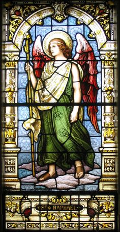 Stained glass window of Archangel Raphael #Catholic #Christianity #angels #glass
