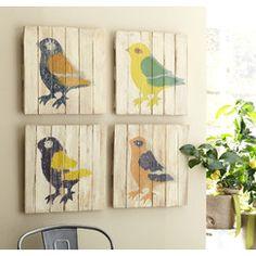 Multicolored Bird Wall Art (Set of 4)