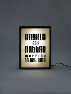 Personalised Hand Painted Wedding Name Date Sign Wooden Light Box Sign / Illuminated / Alphabet / Typography / Oak Frame / LED by Bingkai on Etsy (Bottle Display Light) Shop Signage, Signage Display, On Air Sign, Ap 12, Neon Box, Retail Signs, Light Up Signs, Bottle Display, Wedding Name