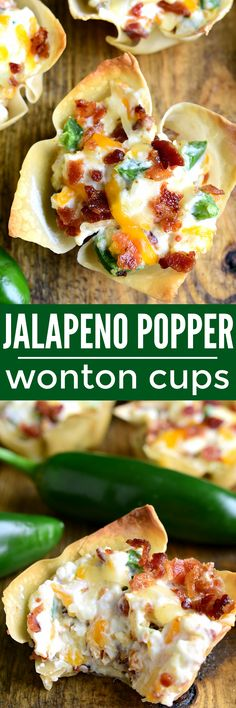 These Jalapeño Popper Wonton Cups are loaded with bacon. These Jalapeño Popper Wonton Cups are loaded with bacon jalapeños cream cheese cheddar cheese and sour cream.all in a crispy wonton shell! The perfect party or game day appetizer! Game Day Appetizers, Finger Food Appetizers, Easy Appetizer Recipes, Yummy Appetizers, Appetizer Party, Wonton Recipes, Jalapeno Recipes, Appetizers With Cream Cheese, Mexican Party Appetizers