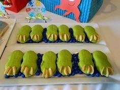 CUTE monster feet at a monster bash themed party via Kara's Party Ideas KarasPartyIdeas.com #monstercookies #monsterparty #monsterbash #halloweencookies