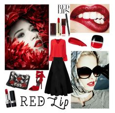 """""""red lips lovers"""" by noviandri-ronal ❤ liked on Polyvore featuring Kevyn Aucoin, Christian Dior, Maison Rabih Kayrouz, Exclusive for Intermix, Kendall + Kylie, Miu Miu, Sisley and Marc Jacobs"""