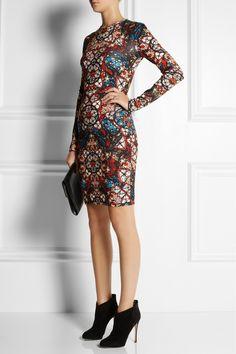 Alexander McQueen|Stained glass-print stretch-jersey dress|NET-A-PORTER.COM
