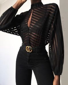 Black Color Casual Wear Shirt Stylish Top Stripes Keyhole Front Mesh Blouse in Clothing, Shoes & Accessories, Women, Women's Clothing, Tops Mode Outfits, Fashion Outfits, Fashion Trends, Fasion, Fashion Styles, Dress Fashion, Bluse Outfit, Black Blouse Outfit, Sheer Top Outfit