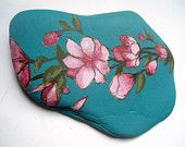 Cherry Blossom Painted Rock Paperweight, Paperweight, Office Supply, Office Decor