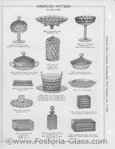 In Fostoria introduced the American pattern of glassware, which was not discontinued until the factory shut its doors in this remarkable run makes American the longest continually produced pattern in the domestic glassware industry. Fostoria Glassware, Fostoria Crystal, Crystal Glassware, Antique Glass Bottles, Antique Glassware, Antique Dishes, Vintage Dishware, Vintage Pottery, Vintage Dishes