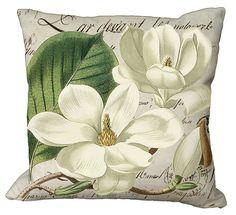 Magnolia Blossoms on French Script Choice of by Soeuralasoeur Burlap Fabric, Burlap Pillows, Decorative Pillows, Fabric Dye, Floral Pillows, Custom Printed Fabric, Printing On Fabric, Fabric Painting, Canvas Fabric
