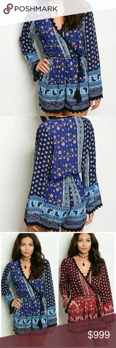 """Arriving 6/9! Navy print BOHO tasseled romper! Arriving 6/9! Navy print BOHO tasseled romper with surplice front. Has pockets and a smocked waist. 100% Rayon. Great for everyday wear or dress up with heels. Small 2-4 Medium 6-8 Large 10-12. If you are close on size go up. 1.5"""" inseam. Pants Jumpsuits & Rompers"""