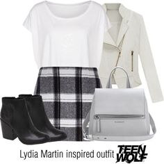Lydia Martin inspired outfit/Teen Wolf by tvdsarahmichele on Polyvore featuring American Apparel, River Island, Dolce Vita and Givenchy