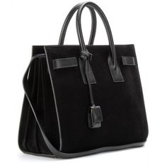 Saint Laurent Sac De Jour Small Suede Tote (200.355 RUB) ❤ liked on Polyvore featuring bags, handbags, tote bags, purses, nero, black tote purse, handbags totes, pocket tote, black tote bag and stackable totes