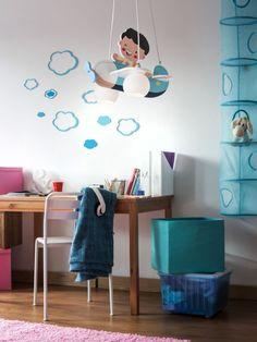 HAPPY PLANE Redo - závesné detské svietidlo - modré lietadlo