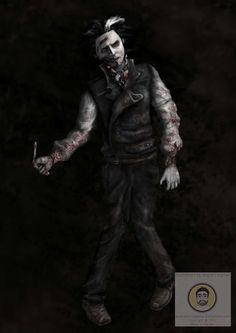 Zombie Sweeney, fan art of Johnny Depp as Sweeney Todd after becoming a zombie, digital art for my digital work project.