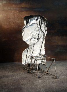 Buste de Marianne - by Philippe Chesneau rép. nº 1625 - ciment blanc, acrylique, encre de chine, acier - dim. H 35 x L 31 x P 18 cm French Sculptor, Stone, India Ink, Steel, Rock, Stones, Batu