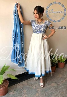 DC - 463 White anarkali with blue combination bodice and blue border to the anarkali. For queries kindly WhatsApp : 9059683293 20 January 2018 Kalamkari Dresses, Ikkat Dresses, Simple Anarkali Suits, White Anarkali, Cotton Anarkali, Long Gown Dress, Lehnga Dress, Designer Anarkali Dresses, Designer Dresses