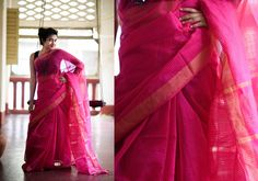 Cotton Sarees - Dark Pink With Gold Border And Self Print Lines By Suta - PC - 15767 - 2