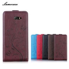 Leather Case For Sony M2 Flip Cover For Sony Xperia M2 Aqua S50H D2302 D2303 D2305 D2306 Embossing Phone Bags & Cases Fundas