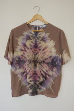 Hand Dyed Shibori Silk Top - Medium