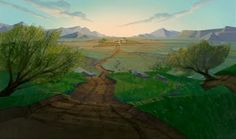 """Lest anyone thinks I only appreciate vintage Disney, here's B/G art from HOME ON THE RANGE. I love seeing """"old west"""" used as an animation mo. Landscape Background, Animation Background, Art Background, Walt Disney Animation Studios, Home On The Range, Disney Home, Matte Painting, Environment Design, Character Design References"""