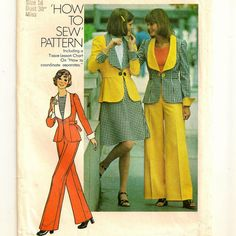 """A Short Flared Skirt, Wide Leg Pants, and Single Link Button Jacket with Self Fabric Back-Ties Pattern - Size 16, Bust 38"""" - Simplicity 6767"""